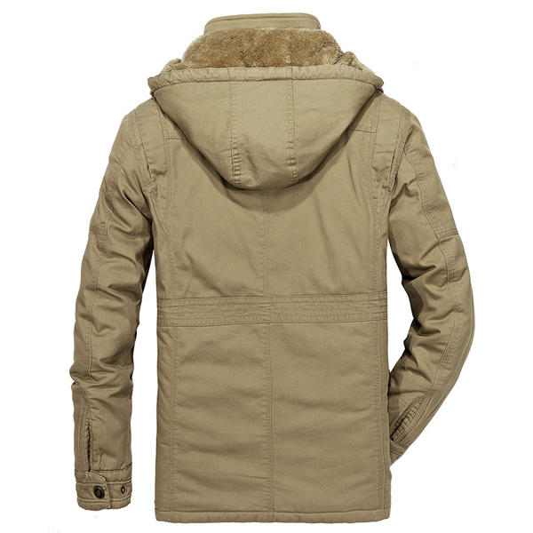 Men/'s Jacket Casual Winter Cotton Jacket Thicken Hooded Cargo Warm Coat 23